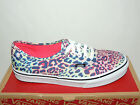 VANS AUTHENTIC MULTI COLOURED LEOPARD PRINT LACE UP TEXTILE TRAINERS. BNIB