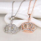 Fashion Women Silver Gold Charm Heart Crown Butterfly Pendant Necklace Jewelry