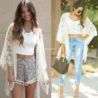 Fashion Women Boho Hippie Lace Crochet Floral Kimono Cardigan Jacket Blouse Tops