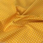 YELLOW POLKA DOT 100% cotton fabric  per FQ, half metre or metre
