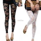 Hot Women Casual Lace Flower Slim Fit Skinny Tight Pencil Pants Stretch Leggings