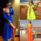 Women Ladies Cover-up Sleeveless Front Open Maxi Full Lace Swimwear Bikini DZ88