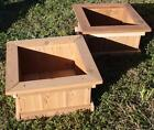 TWO NEW SOLID CEDAR WOOD GARDEN PLANTER BOXES - 18 INCHES SQUARE, 9 INCHES TALL