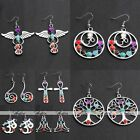 Fashion Women 7 Chakra Reiki Healing Gemstone Bead Ear Charm Drop Dangle Earring