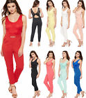 Womens Floral Lace Open Back Jumpsuit Ladies Sleeveless Trousers Stretch 8-14