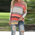 Sexy Women Casual Stripe Floral Long Sleeve T-Shirt Casual Loose Blouse Top