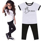 2PCS Baby Kids Girls Outfits Clothes Short Sleeve T-shirt Tops+Pant Set For 2-7Y