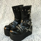 Punk Gothic Visual Cosplay Platform Skull Chain Boots Shoes 4110-9