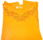 Halloween Orange Black Scroll Rhinestone Pumpkin 3/4 sleeve T-shirt Womens 2x 3