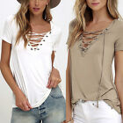 Fashion Women 's V-Neck Loose T Shirt Short Sleeve Cotton Tops Shirt Blouse