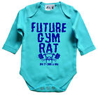 Dirty Fingers Long Sleeve Bodysuit Future Gym Rat Weight Lift Baby Clothes Funny