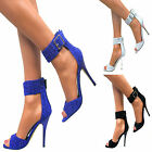 Ladies Womens High Heel Stiletto Party Shoes Peep Toe Sandals Ankle Buckle Size
