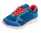 GIRLS REFLEX ROYAL BLUE/MID PINK LACE UP TRAINER STYLE - H2346