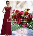 JENNIE Lace Chiffon Cranberry Prom Evening Bridesmaid Ballgown Dress UK SALE!!
