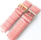 PINK 24mm CROC GRAIN LIGHTLY PADDED CALF LEATHER  WATCH STRAP. GOLD or SILVER