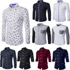 Hot Sale! Men's Casual Floral Print Slim Fit Stylish Long Sleeve Dress Shirts