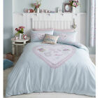Catherine Lansfield Heart Panel Blue Cotton Rich Duvet Quilt Cover Bedding Set