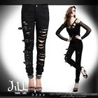 punk rock heavy metal coyote ugly multi strap distressed skinny jeans  PT009