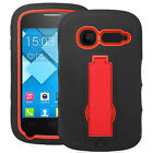 Alcatel OneTouch POP C1 Hybrid Rugged Armor w/Stand Case Skin Cover Dual Layered