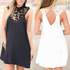 Women Sexy Lace Sleeveless Evening Party Backless Mini Dress Clubwear