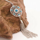 New Womens Retro Turquoise Feather Pendant Long Sweater Chain Necklace Fashion