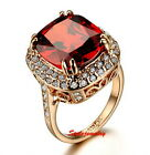 Rose Gold Plated Ruby Red Stone Cocktail Ring Made With Swarovski Crystal R188