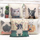"Lovely Animal Cat Dog Sofa Decor Pillow Case Cushion Cover Square 45cm 18"" Linen"