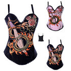 Sexy Punk Rock Cotton Corset Dragon Tattoo Basques Party Costume Outwear S-2XL