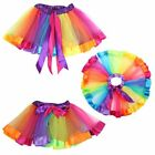 Girl Kids Rainbow Tutu Dress Ballet Dance Mini Party Tulle Dress Skirt Costume