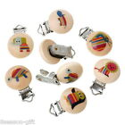 Gift Wholesale Mixed Baby Pacifier Clips Animal Printed Natural Color Wood