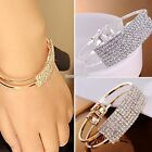 New Women Fashion Style Gold Rhinestone Bangle Cuff Bracelet Jewelry S0BZ