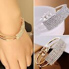 New Women Charm Style Gold Rhinestone Bangle Cuff Bracelet Jewelry DZ88