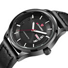 Sport Military Men Luxury Quartz  Stainless Steel Dial Leather Band Wrist Watch