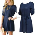 Women Knitted Long Sleeve Tops Mini Dress Pullover Jumper Party Shirt Dress S0BZ