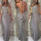 1 Pc Sexy Boho Women Maxi Striped Halter Bodycon Dress Bandaged Party Dress