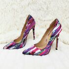Alba Jamie Fuchsia Multi-colored Pointy Toe Pump Stiletto Heel 6-11