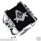 16x12 mm 925 Sterling Silver Mason Masonic Black Onyx Men Ring Jewelry Size 7-14