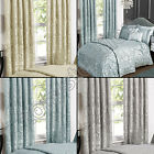 LUXURY ELEGANT JACQUARD LINED PAIR READY MADE CURTAINS CREAM DUCK EGG BLUE GREY