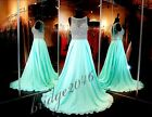 Sparkly Mint Prom Dresses Evening Dress 2016 Chiffon Beaded Party Formal Gown