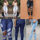 New Women High Waist Pencil Jeans RIPPED DISTRESSED SKINNY Denim Pants Trousers
