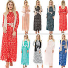New Womens Long Sleeved Belted Scarf Scoop Neck Lace Maxi Dress One Size
