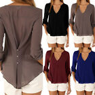New Women Summer Casual Long Sleeves Chiffon Tee T Shirt Blouse Loose Tops S-XXL