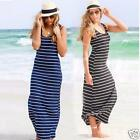 Sexy Womens Stripe Summer Sleeveless Party Beach Long Maxi Vest Dress Sundress