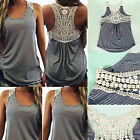 Sexy Women Summer Lace Vest Top Sleeveless Casual Tank Blouse Tops T-Shirt S-XL