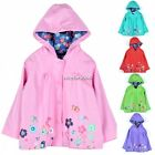 School Children Girls Waterproof Hooded Rain Coat Outwear Poncho Raincoat N4U8