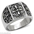 316 Stainless Steel Knights Templar Crest No Stone High Polish Men Ring Sz 8-13