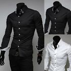Men's Formal Shirt Men Long Sleeve Dress Plain Casual Winter New Shirts S M L XL