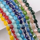 10pcs Twist Coin/Teardrop/Hexagon 14mm Faceted Glass Porcelain Color Loose Beads