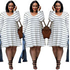 New Plus Size Womens Summer Boho Casual Stripe Loose Evening Party Beach Dress