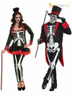 Ladies Mens Bone Jangles Skeleton Halloween Day Of The Dead  Fancy Dress Costume